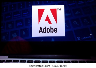 Computer with the Adobe Inc. logo, formerly Adobe Systems Incorporated, is an American software company. Saturday November 23, 2019, United States, California