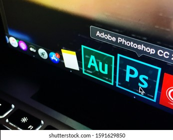 Computer with the Adobe Photoshop logo is a raster graphics editor developed by Adobe Systems Incorporated. United States, California, December 4, 2019