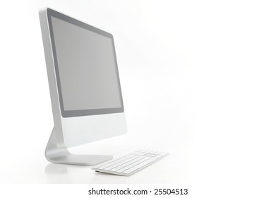 computer against white background