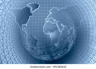 Computer background in blues with world map and digits.