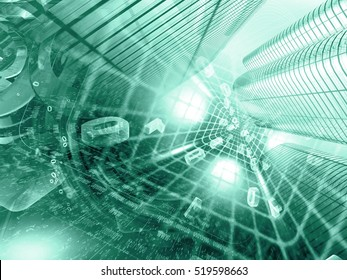 Computer background in greens with buildings, digits and tunnel.