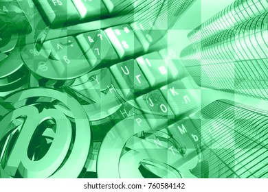 Computer background in greens - mail signs, keyboard and buildings.