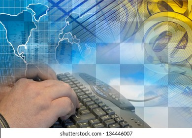 Computer background with hands, keyboard and mail signs.