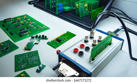 Computer boards. Electrical engineering. Micro circuit board development. Concept - work on the production of electronic circuit boards. Electronic engineer. Components for electronic devices.