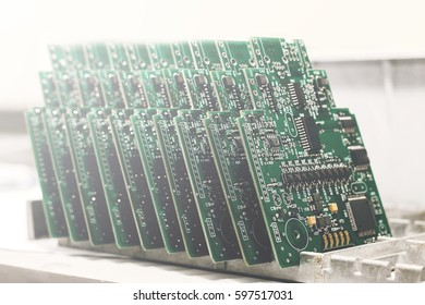 Computer boards in a row. The concept of high computer technologies and innovations.