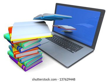 COMPUTER AND BOOKS - 3D