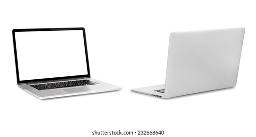 computer in a bright office. Isolated on white background