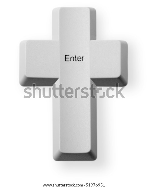 Computer button in the form of a Christian cross with the inscription - Enter
