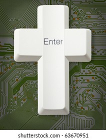 Computer button forms a Christian cross with the inscription - Enter