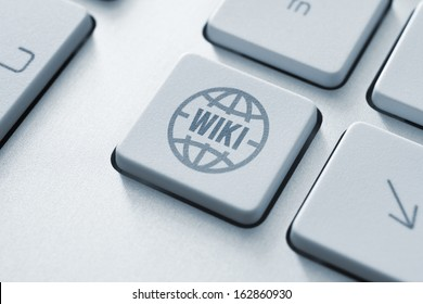 Computer button on a keyboard with online wiki encyclopedia icon symbol