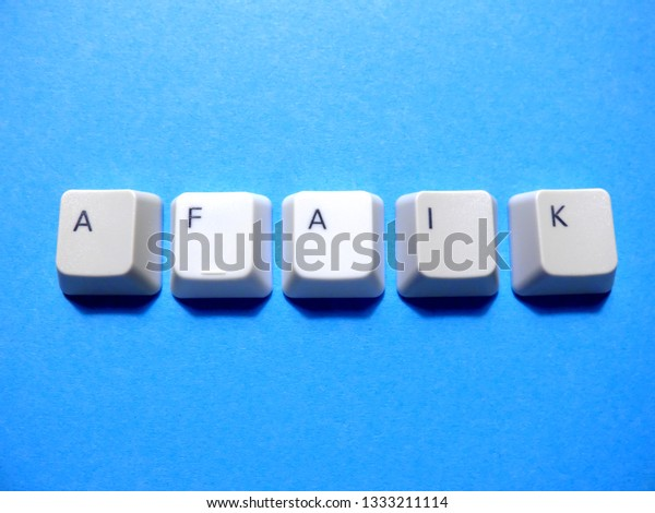 Computer buttons form a AFAIK (As Far As I Know) abbreviation. Computer and internet slang.