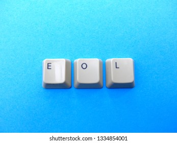 Computer buttons form a EOL (End of live) abbreviation. Computer and internet slang.
