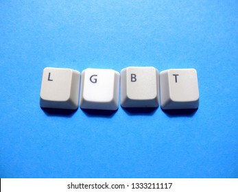 Computer buttons form an LGBT (lesbian, gay, bisexual, and transgender) abbreviation.