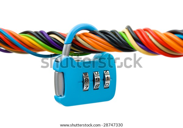 Computer cable and lock isolated on white background