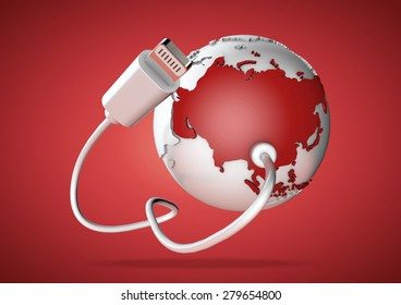 An computer cable and plug connects to Asia on world globe. Concept for how users in Asia, India and China connect to the internet and social media.