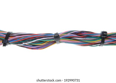 Computer cables with cable ties isolated on white background