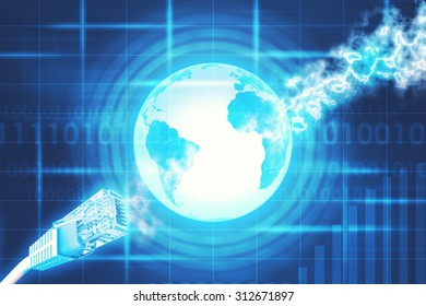 Computer cables on abstract blue background with Earth. Elements of this image furnished by NASA