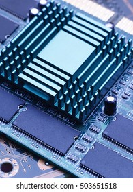 The computer chip and the CPU with the heatsink cooling. Studio high-resolution image.