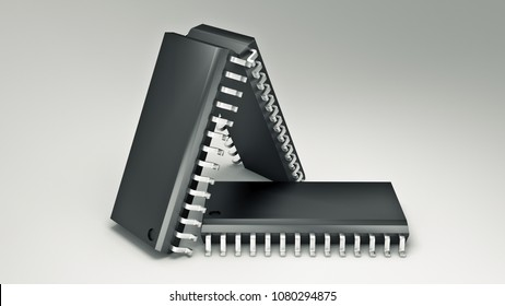 Computer chips isolated. 3d rendering