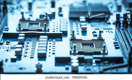 computer circuit board background. blue chip cpu core texture technology with processors microelectronics hardware concept electronic device motherboard