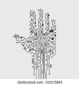 Computer circuit board in hand shape creative technology poster  illustration
