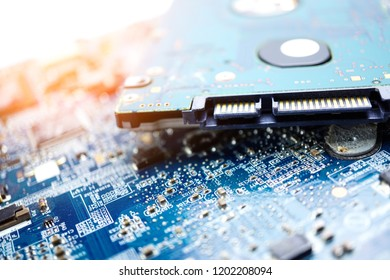 Computer circuit cpu chip mainboard core processor electronics device : concept of data, hardware, technician and technology.