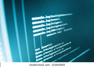 Computer code data. Programming code abstract screen of software developer. PC software creation business. IT specialist workplace. New technology revolution. Software engineer at work.