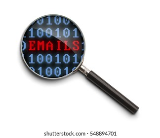 Computer Code  Email Investigation Magnifying Glass Isolated on a White Background.