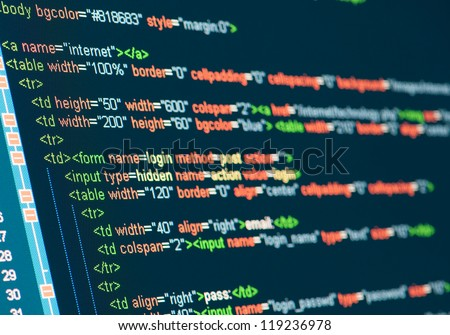 Computer Code HTML on monitor