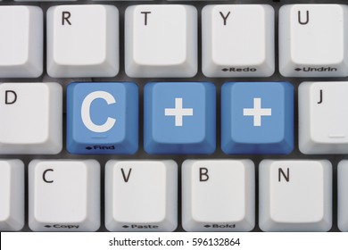 Computer coding with C++, A close-up of a keyboard with blue highlighted text C++