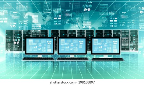Computer connected to global internet server network and doing data processing