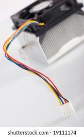 Computer cooler closeup over white