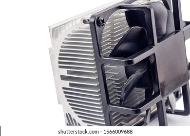 computer CPU cooling system. fan and radiator isolated on white background