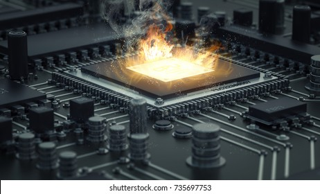 Computer cpu overheating on fire. high resolution 3d render ilustration