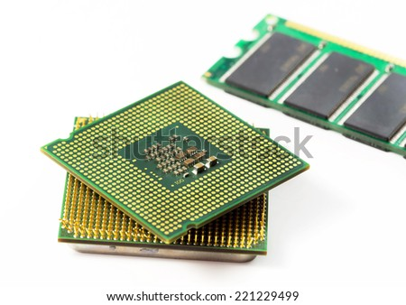 Computer CPU and RAM module isolated on white background.