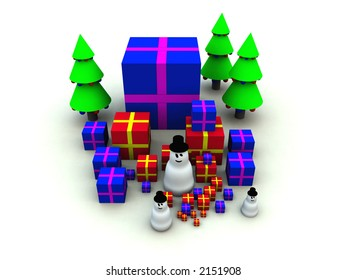 A computer created Christmas scene of some snowman and Christmas presents.