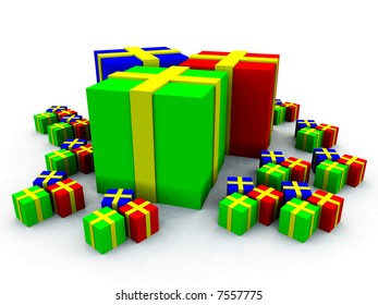 A computer created scene of some Christmas presents.