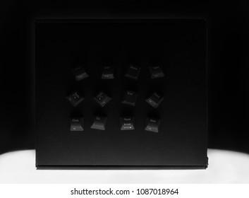 Computer crime concept, blackbox, black keyboard