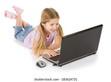Computer: Cute Girl Laying Down With Laptop