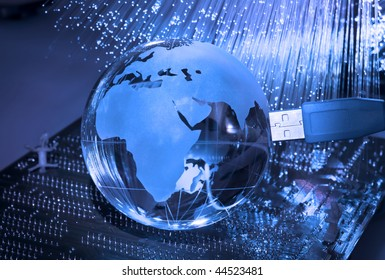 computer data concept with earth globe against fiber optic background more in my portfolio
