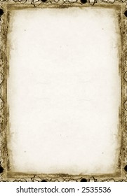 Computer designed grunge border and aged textured background
