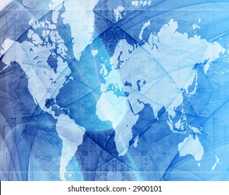 Computer designed highly detailed grunge textured world map