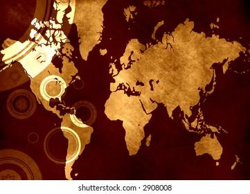 Computer designed highly detailed grunge world map