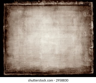 Computer designed highly detailed grunge border and aged textured paper background with space for your text or image
