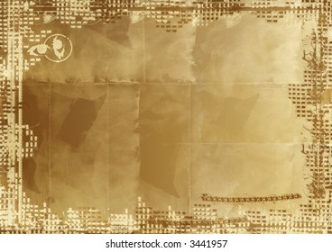Computer designed highly detailed grunge border and aged textured paper background. Nice grunge element for your projects