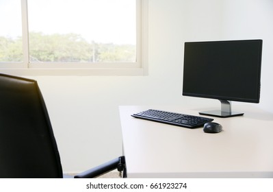 Computer, Desktop PC. for business In modern office.copy space.