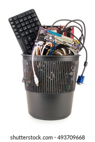 Computer details in the trash. On white, isolated background.