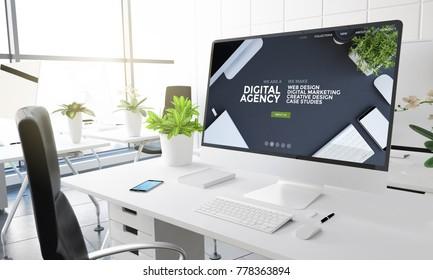 computer with digital agency website on screen 3d rendering.
