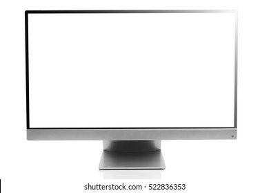 Computer display with blank white screen, front view and isolated on white background with reflection