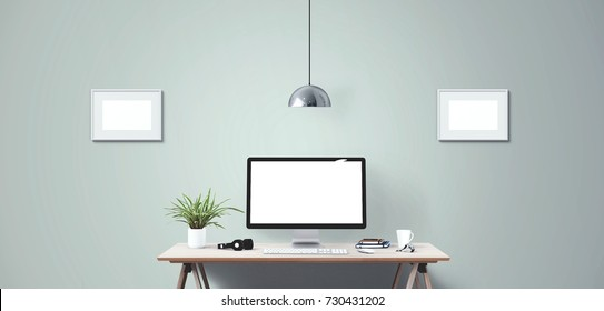 Computer display and office tools on desk. Desktop computer screen isolated. Modern creative workspace background. Front view